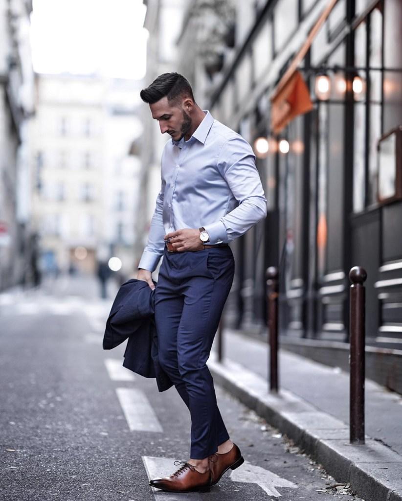 Roupa social masculina: costume azul