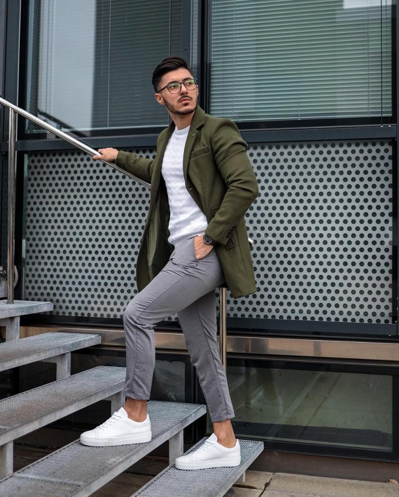 Moda para homens: verde e cinza