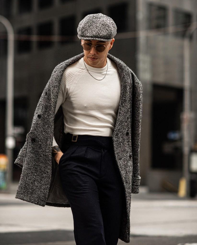Outfit masculino de inverno com boina