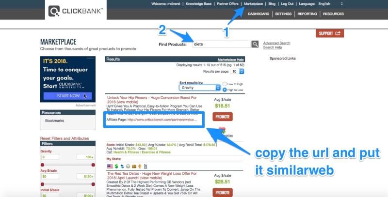 guarda le offerte nel marketplace clickbank