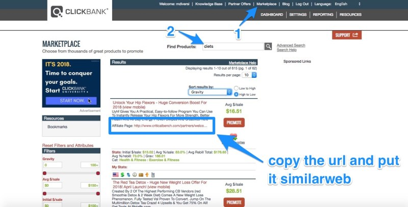 look at offers in clickbank marketplace
