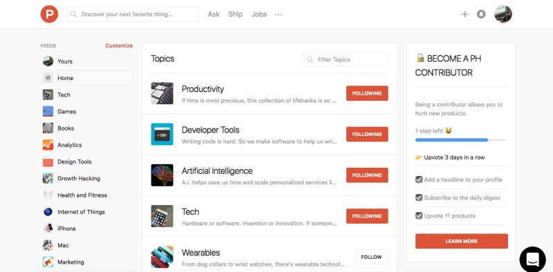 product hunt topics