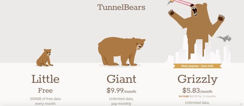 tunnelbear prezzo