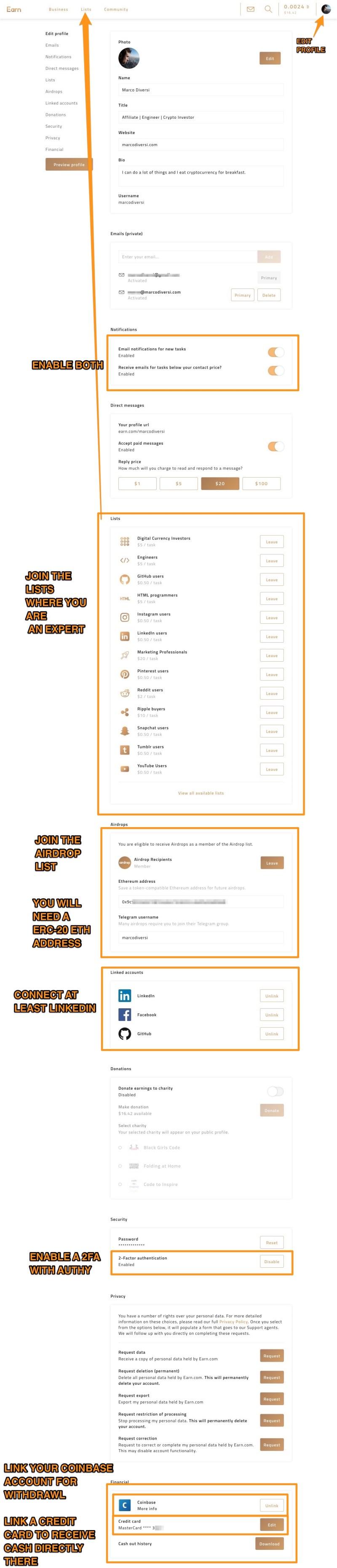 earn.com best settings