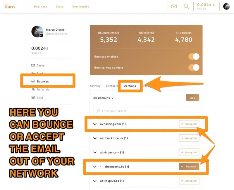 earn.com bounce email and domains