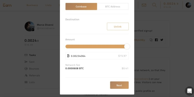 earn.com cash out on coinbase