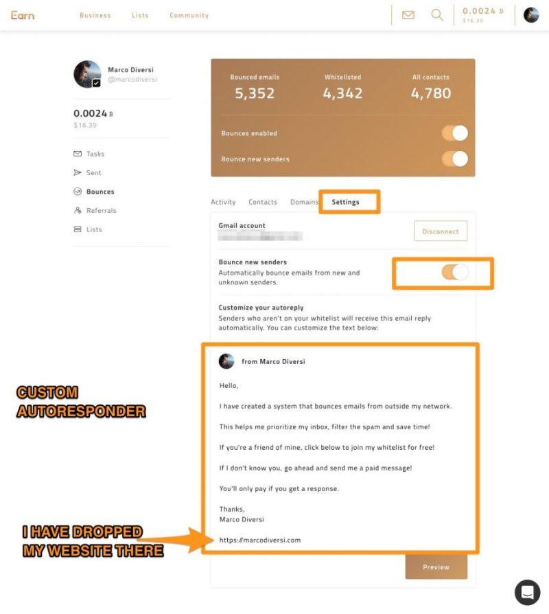 earn.com rimbalza le email e autorispondi