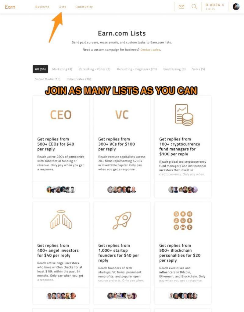 earn.com unisciti alle liste