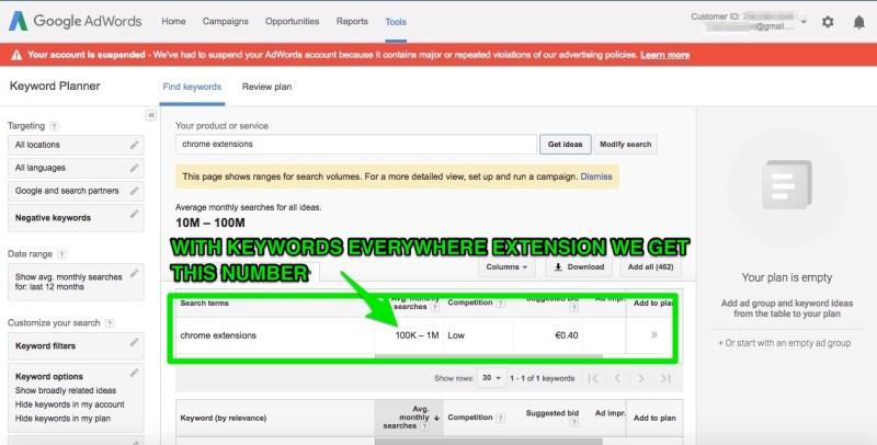 google keyword planner risultati per chrome extensions