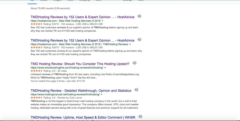 TMDHOSTING STARS FROM REVIEWS ON GOOGLE SEARCH