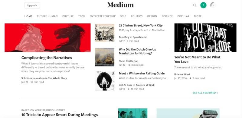 medium homepage