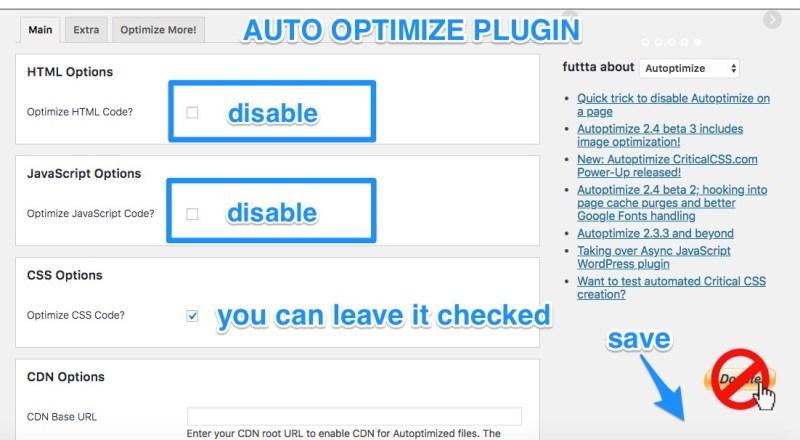 autoptimize disabled