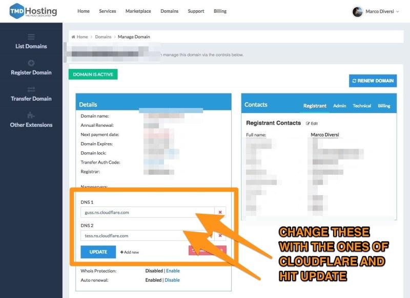 change tmdhosting domain nameservers