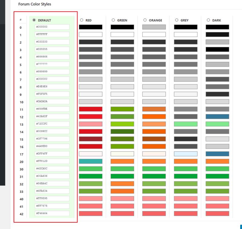 default values wpforo styles
