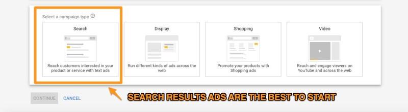 risultati della ricerca di annunci google