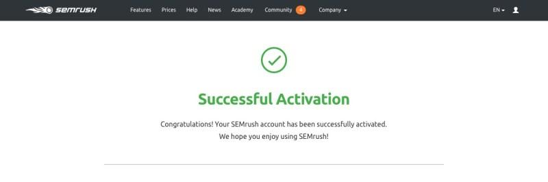 semrush attivazione successo