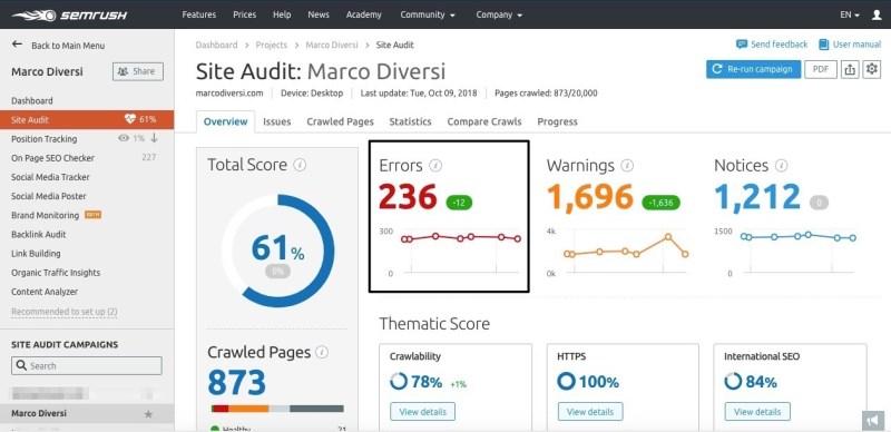 semrush site audit 1