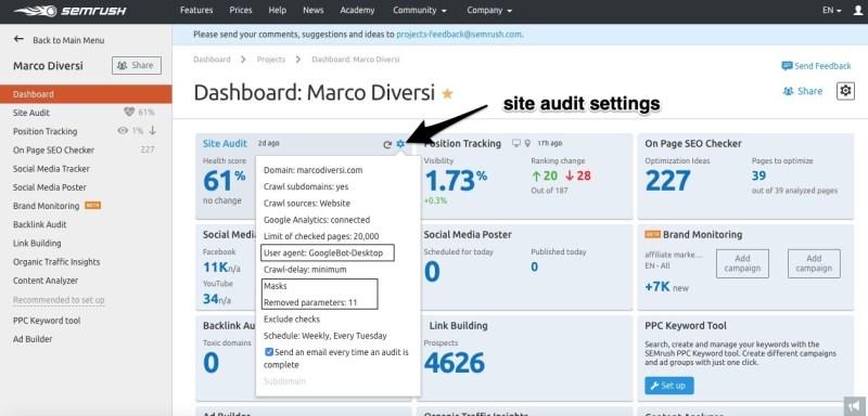 site audit settings