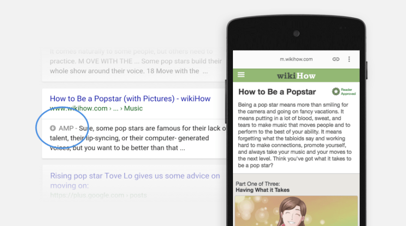 amp example on serp