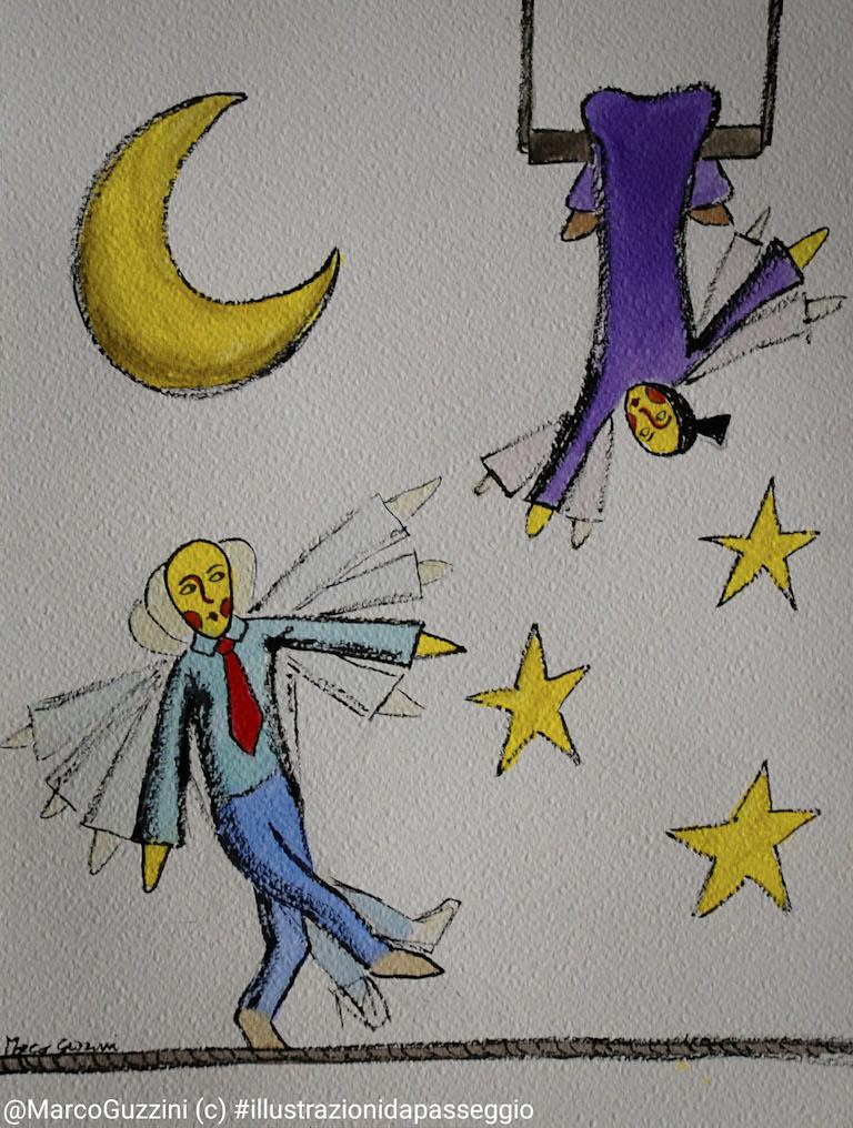 illustrazione da passeggio equilibrismo