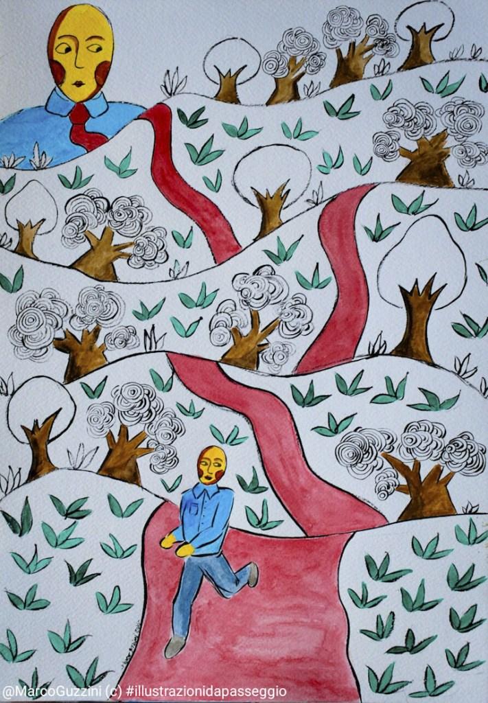 illustrazione da passeggio la guida Breve illustrazione narrata marco guzzini fuori