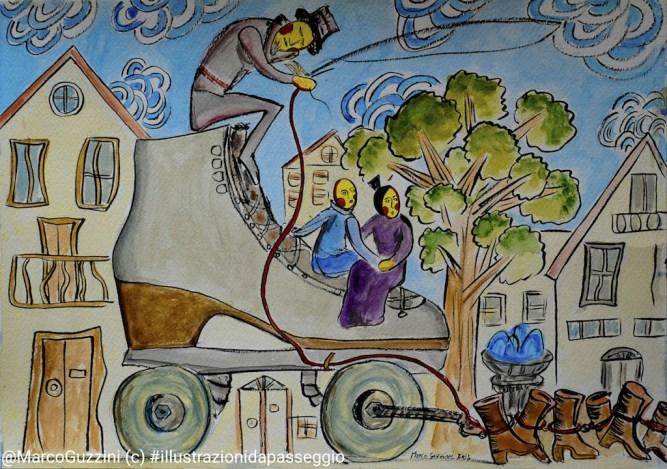 illustrazione da passeggio raccontare favole di marco guzzini