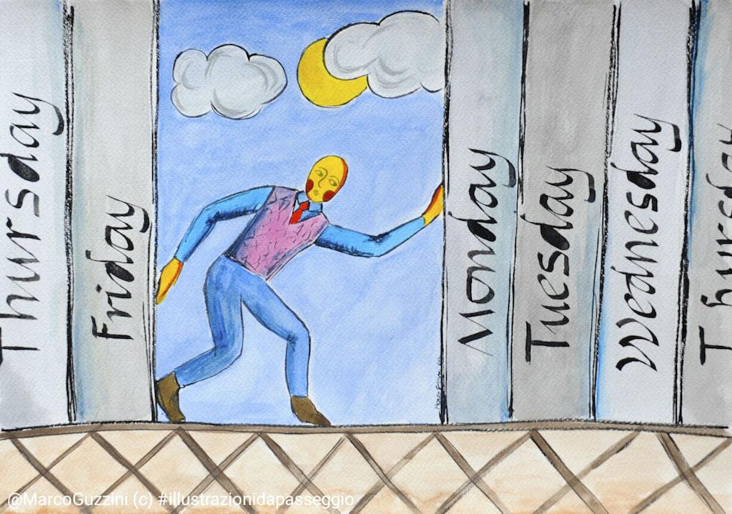 illustrazione da passeggio spazio e tempo di Marco Guzzini