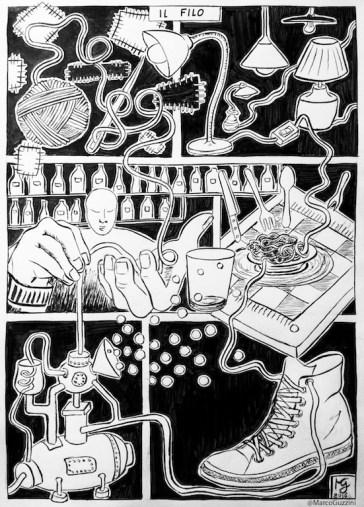 serie di illustrazioni il filo , come realizzare una illustrazione, esercizi di improvvisazione , esercizi di fantasia