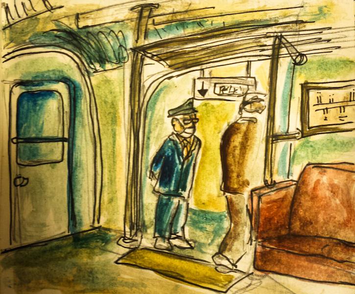 sketchbook viaggiare in treno in giappone