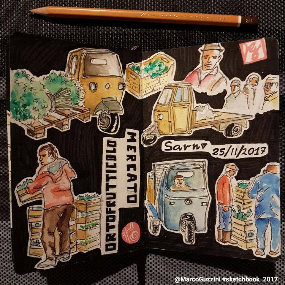 Sketchbook scene da mercato ortofrutticolo campania