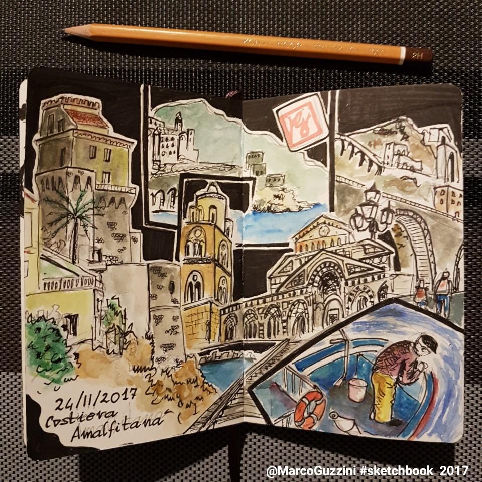 Sketchbook costiera amalfitana schizzo