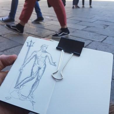 disegnare a bologna , schizzi urbani, urban sketch , piazza Maggiore, sotto il nettuno