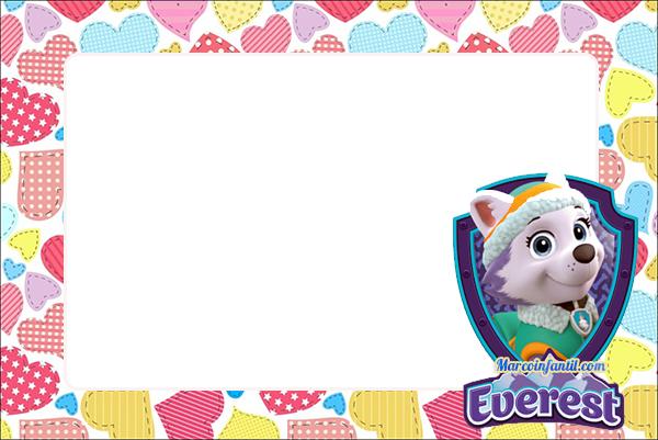 Everest paw patrol - invitaciones de paw patrol niñas - tarjetas de paw patrol ninas