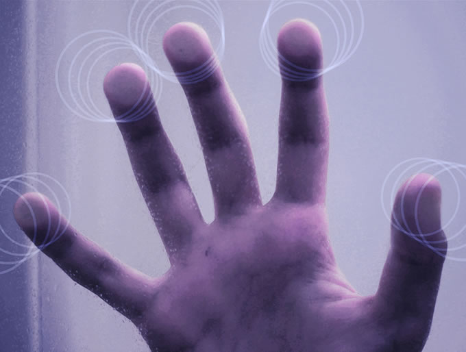 vingers op het scherm