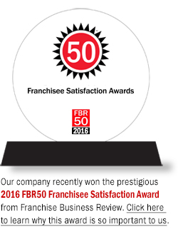 "Image of the FBR50 Franchisee Satisfaction Award with text: ""Our company recently won the prestigious 2016 FBR50 Franchisee Satisfaction Award from Franchise Business Review. Click here to learn why this award is so important to us."""