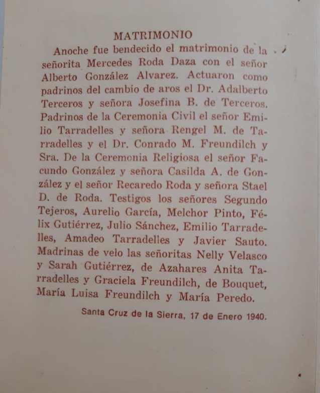 Esquela con la lista de asistentes al matrimonio de Beatriz con Alberto Gonzales