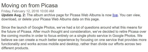 Moving on from Picasa to Google Photos - official statement