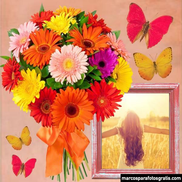 Marcos para fotos con flores y mariposas