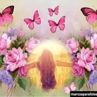 Marcos de fotos con flores y mariposas