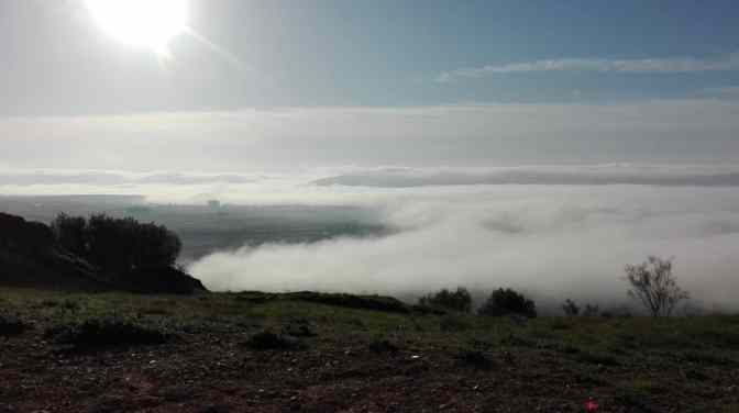 Nubes bajas sobre el castillo de Miraflores, Piedrabuena CIUDAD REAL