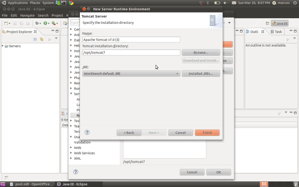 Ambiente Java EE no Ubuntu (Tomcat + Eclipse) (5/6)