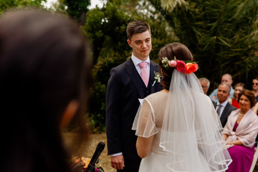 groom cries while his bride is reading her speech