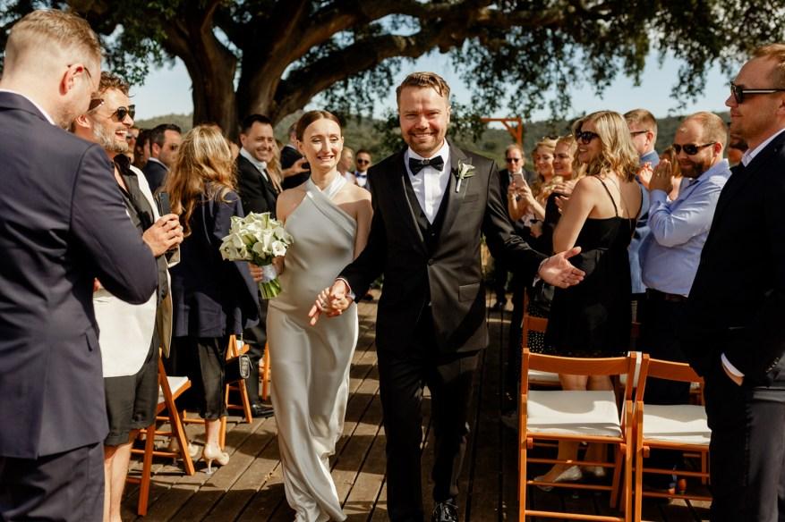 bride and groom celebrate being married