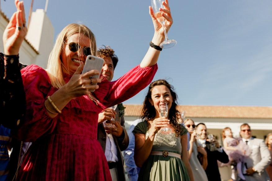 guests celebrate at a hotel casa palmela wedding
