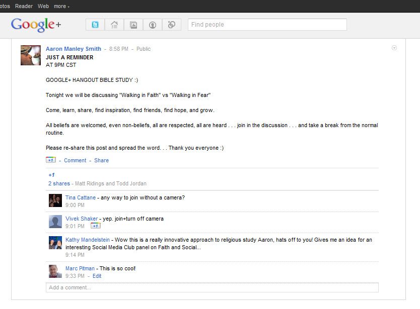 What a cool Kingdom use of Google+ Hangouts!