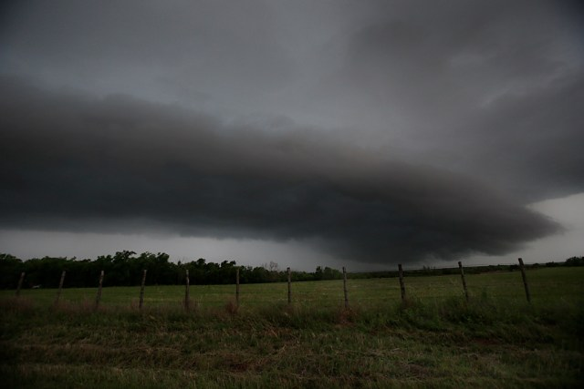28 May 2015: A general view of a supercell in a tornado warned area north of Crowell Texas during a storm chasing trip to Tornado Alley.