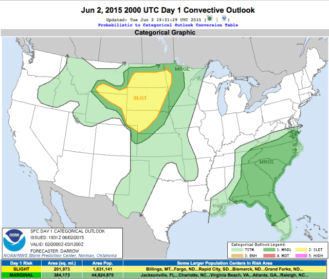 Graphic showing SPC outlook for chase day.