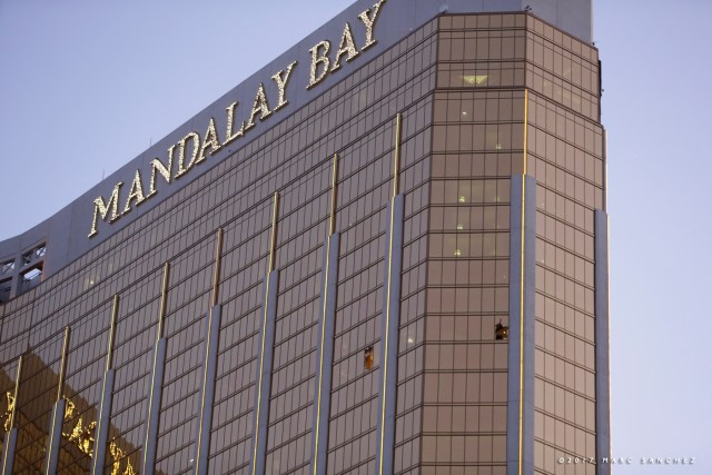 Broken windowson the 32nd floor of the Mandalay Bay Resort and Casino in Las Vegas, Nevada where a lone gunman opened fire on the Route 91 Harvest country music festival on October 1, leaving 59 dead and hundreds wounded. (Photo by Marc Sanchez)