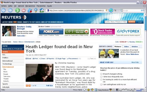 Heath Ledger atopado morto en New York
