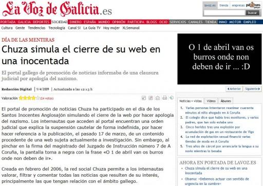rectificación publicada por La Voz